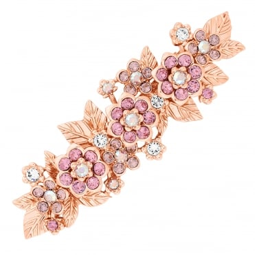 Gold Pink Flower Hair Clip Embellished With Swarovski® Crystals