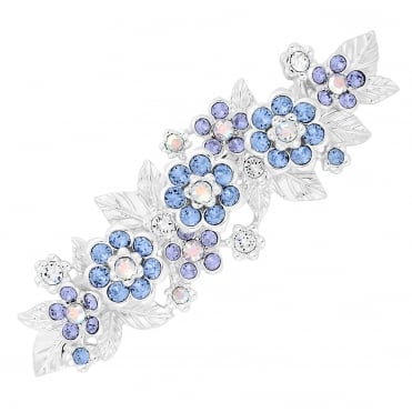 Silver Blue Flower Hair Clip Embellished With Swarovski® Crystals