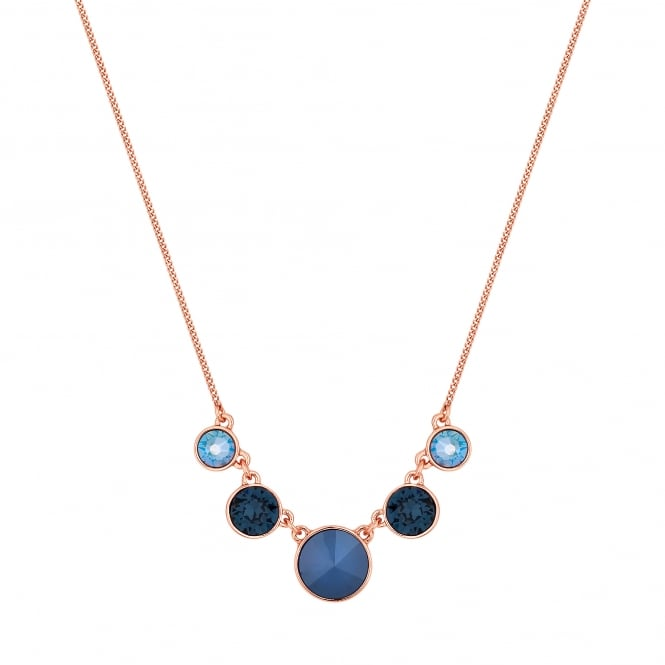 Gold Blue Graduated Circle Necklace Embellished With Swarovski Crystals