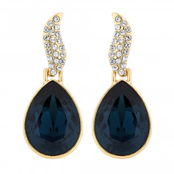 Gold Blue Statement Drop Earring Embellished With Swarovski Crystals