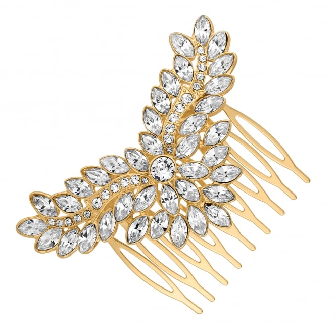 Gold Hair Comb Embellished With Swarovski Crystals