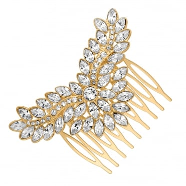Gold Hair Comb Embellished With Swarovski® Crystals