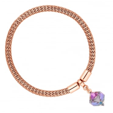 Gold Mesh And Purple Cube Bracelet Embellished With Swarovski® Crystals