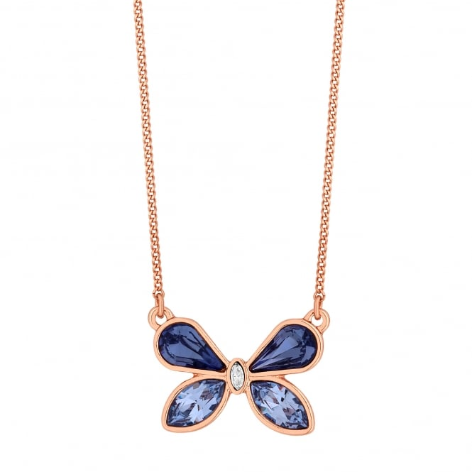 Jon Richard made with Swarovski® crystals Gold Purple Butterfly Necklace Embellished With Swarovski® Crystals
