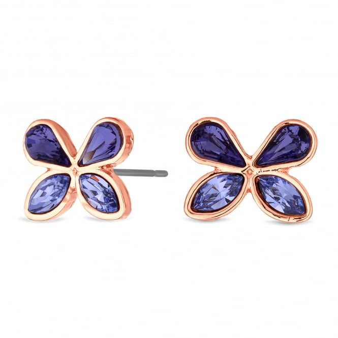 Jon Richard made with Swarovski® crystals Gold Purple Butterfly Stud Earring Embellished With Swarovski® Crystals