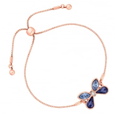 Gold Purple Butterfly Toggle Bracelet Embellished With Swarovski® Crystal