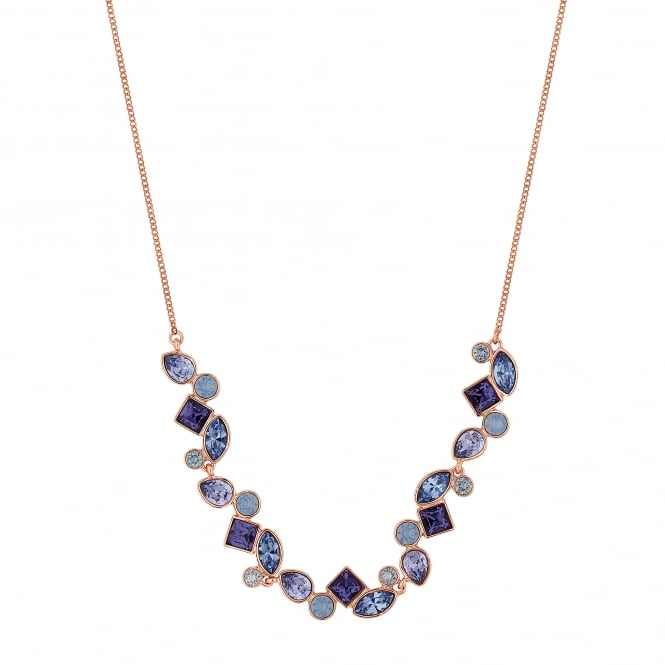 Gold Purple Crystal Cluster Necklace Embellished With Swarovski Crystals