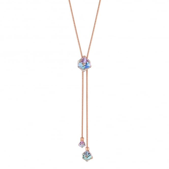 Jon Richard made with Swarovski® crystals Gold Purple Cube Lariat Necklace Embellished With Swarovski® Crystals