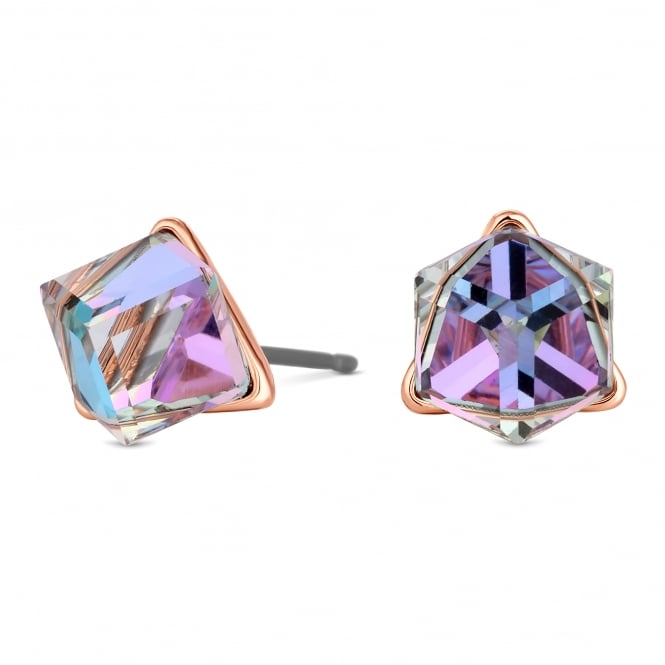 Jon Richard made with Swarovski® crystals Gold Purple Cube Stud Earring Embellished With Swarovski® Crystals