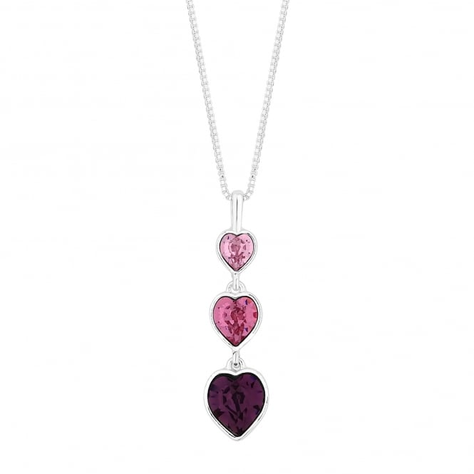 Jon Richard made with Swarovski® crystals Silver Pink Graduated Heart Necklace Embellished With Swarovski® Crystals