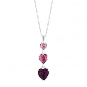 Graduated heart necklace created with Swarovski crystals