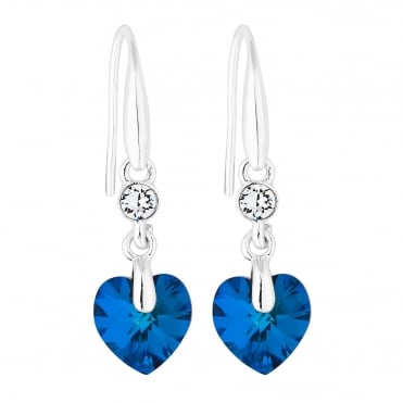 Heart drop earring created with Swarovski crystals