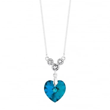Heart drop necklace created with Swarovski crystals