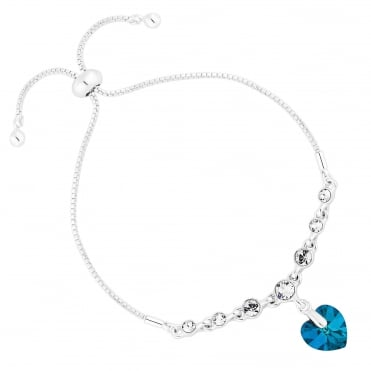 Silver Blue Heart Toggle Bracelet Embellished With Swarovski® Crystal