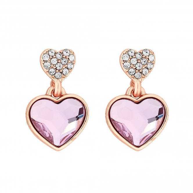 Light Rose Dancing Heart Made with Swarovski Drop Earrings