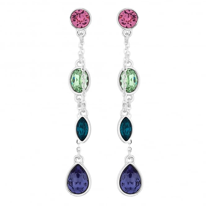 Jon Richard made with Swarovski® crystals Silver Multi Colour Drop Earring Embellished With Swarovski® Crystals