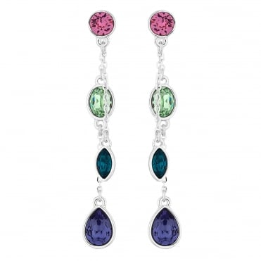 Silver Multi Colour Drop Earring Embellished With Swarovski® Crystals