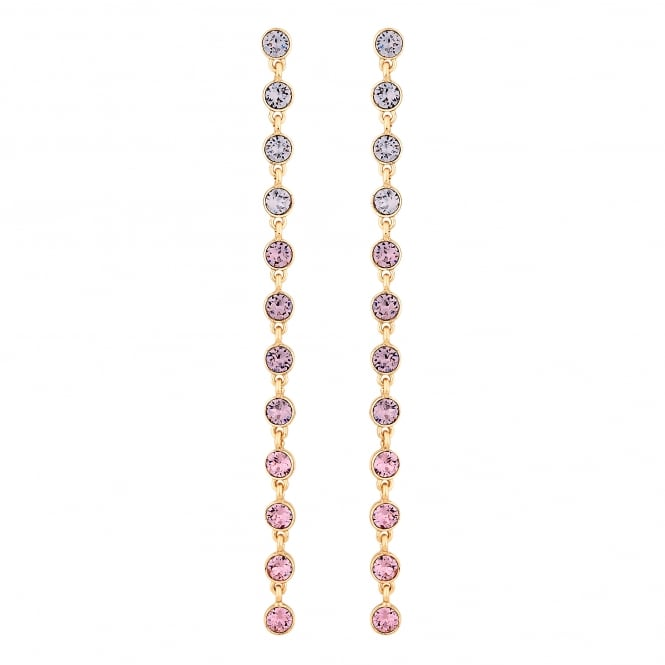 Gold Pink Ombre Statement Drop Earring Embellished With Swarovski Crystals