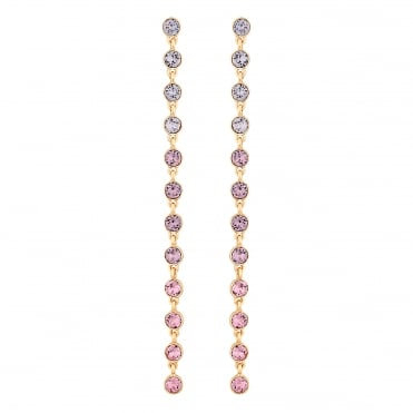 Gold Pink Ombre Statement Drop Earring Embellished With Swarovski® Crystals