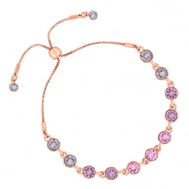 Gold Pink Ombre Toggle Bracelet Embellished With Swarovski® Crystal