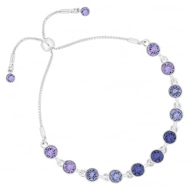 Silver Purple Ombre Toggle Bracelet Embellished With Swarovski® Crystals
