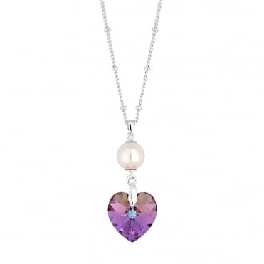 Pearl and heart necklace created with Swarovski crystals