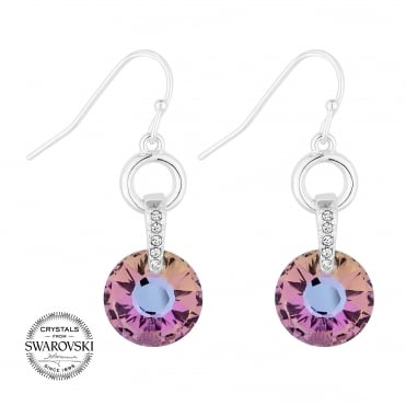Pink crystal circle earring MADE WITH SWAROVSKI CRYSTALS
