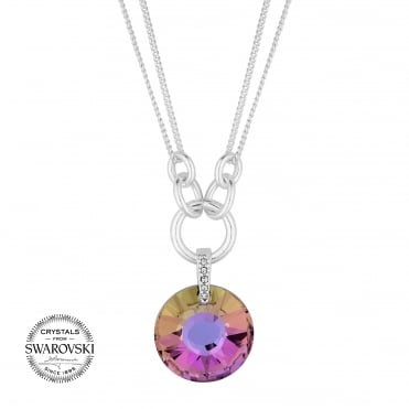 Pink crystal circle necklace