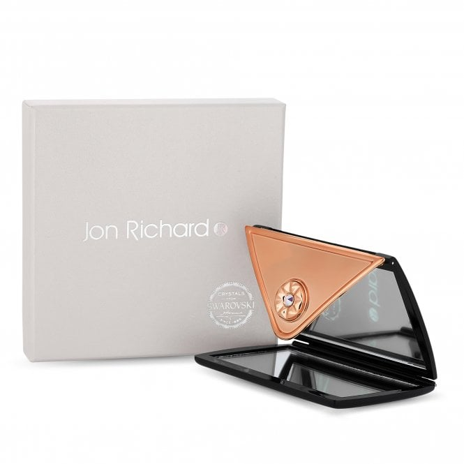 Rose Gold And Black Envelope Compact Mirror Embellished With Swarovski Crystals