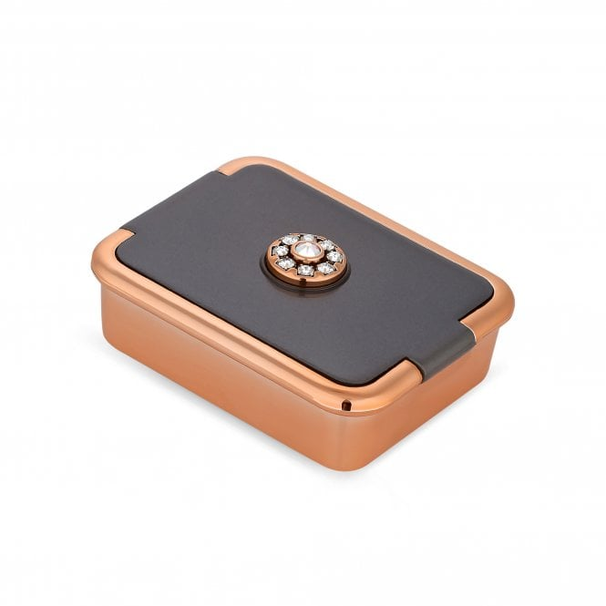 Rose Gold And Grey Pill Box Embellished With Swarovski Crystals