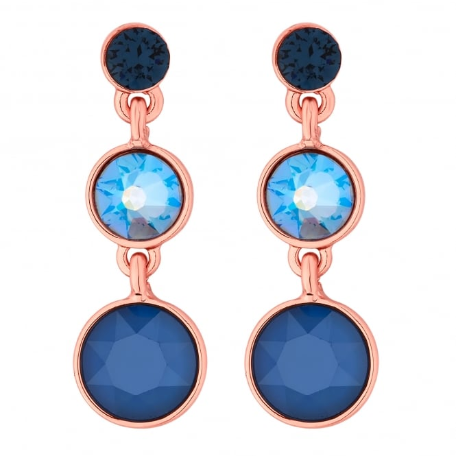 Rose Gold Blue Graduated Circle Drop Earring Embellished With Swarovski Crystals