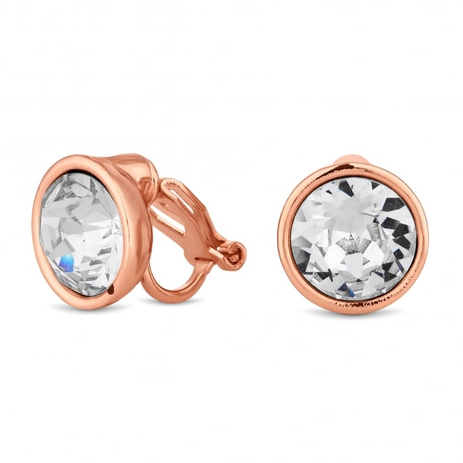 Rose Gold Crystal Clip On Earring Embellished With Swarovski Crystals