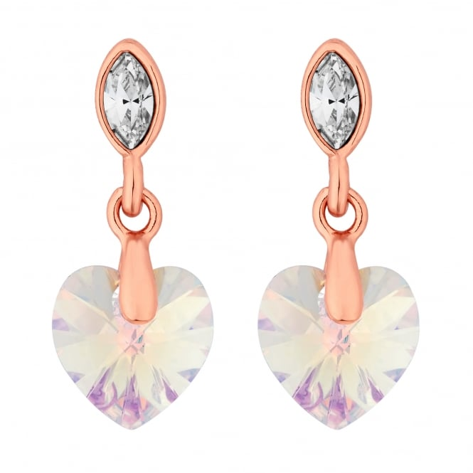 Rose Gold Crystal Heart Drop Earring Embellished With Swarovski Crystals