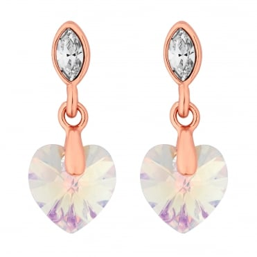 Rose Gold Crystal Heart Drop Earring Embellished With Swarovski® Crystals