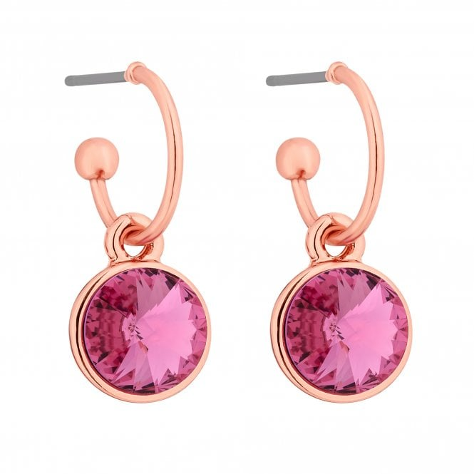 Rose Gold Crystal Hoop Earring Embellished With Swarovski Crystals