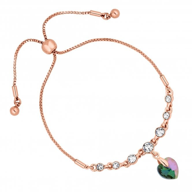 Rose Gold Heart Toggle Bracelet Embellished With Swarovski Crystals