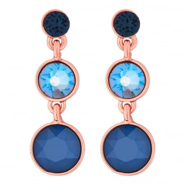 aeb74e65c Rose Gold Plated Blue Graduated Circle Drop Earring Embellished With  Swarovski® Crystals