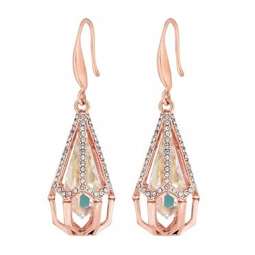 c7a2117e13 Rose Gold Plated Clear Caged Raindrop Drop Earring Embellished With  Swarovski® Crystals · Jon Richard made ...