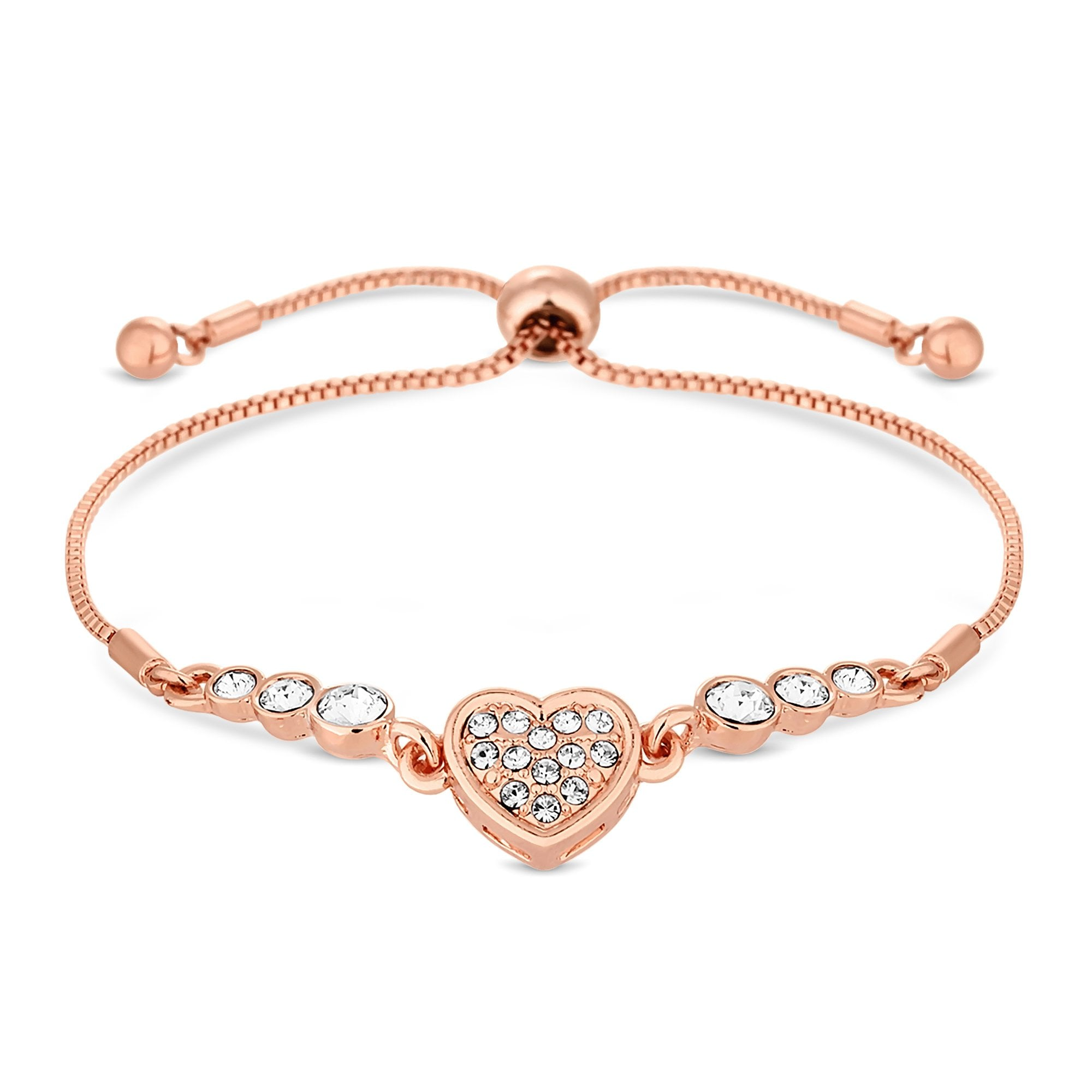 e44e79cfeac1 Jon Richard made with Swarovski® crystals Rose Gold Plated Clear Heart  Toggle Bracelet Embellished With