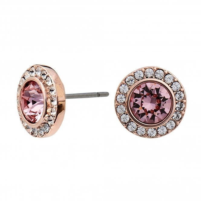 Jewellery|Women's Rose Gold Plated Made with Swarovski Pink Halo Stud Earrings