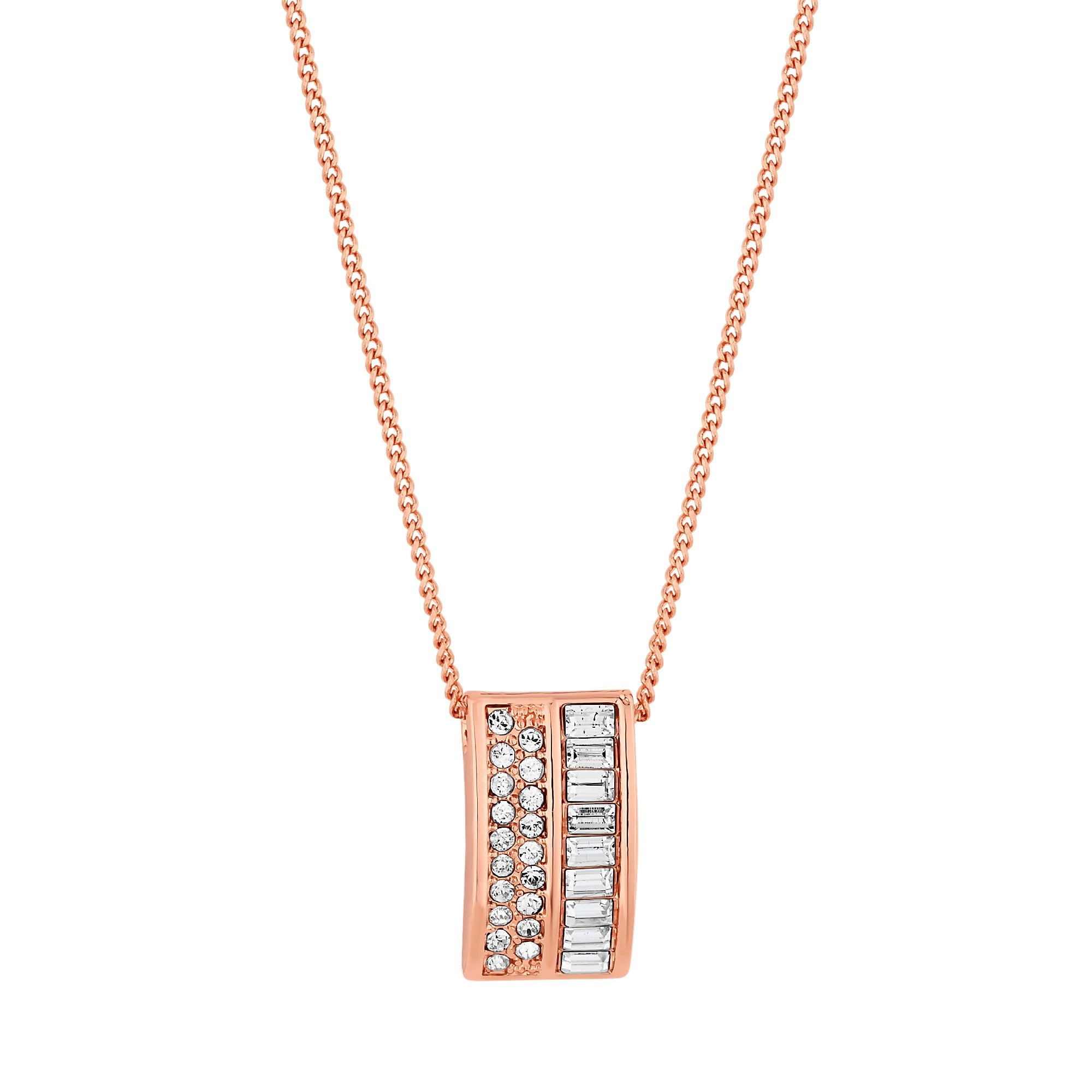42a0d0f95 Jon Richard made with Swarovski® crystals Rose Gold Plated Pave Curve  Pendant Necklace Embellished With