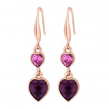2be7ac318 Rose Gold Plated Pink Heart Drop Earring Embellished With Swarovski®  Crystals