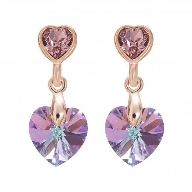 Image of Rose Gold Plated Pink Heart Drop Earring Made With Swarovski Crystals