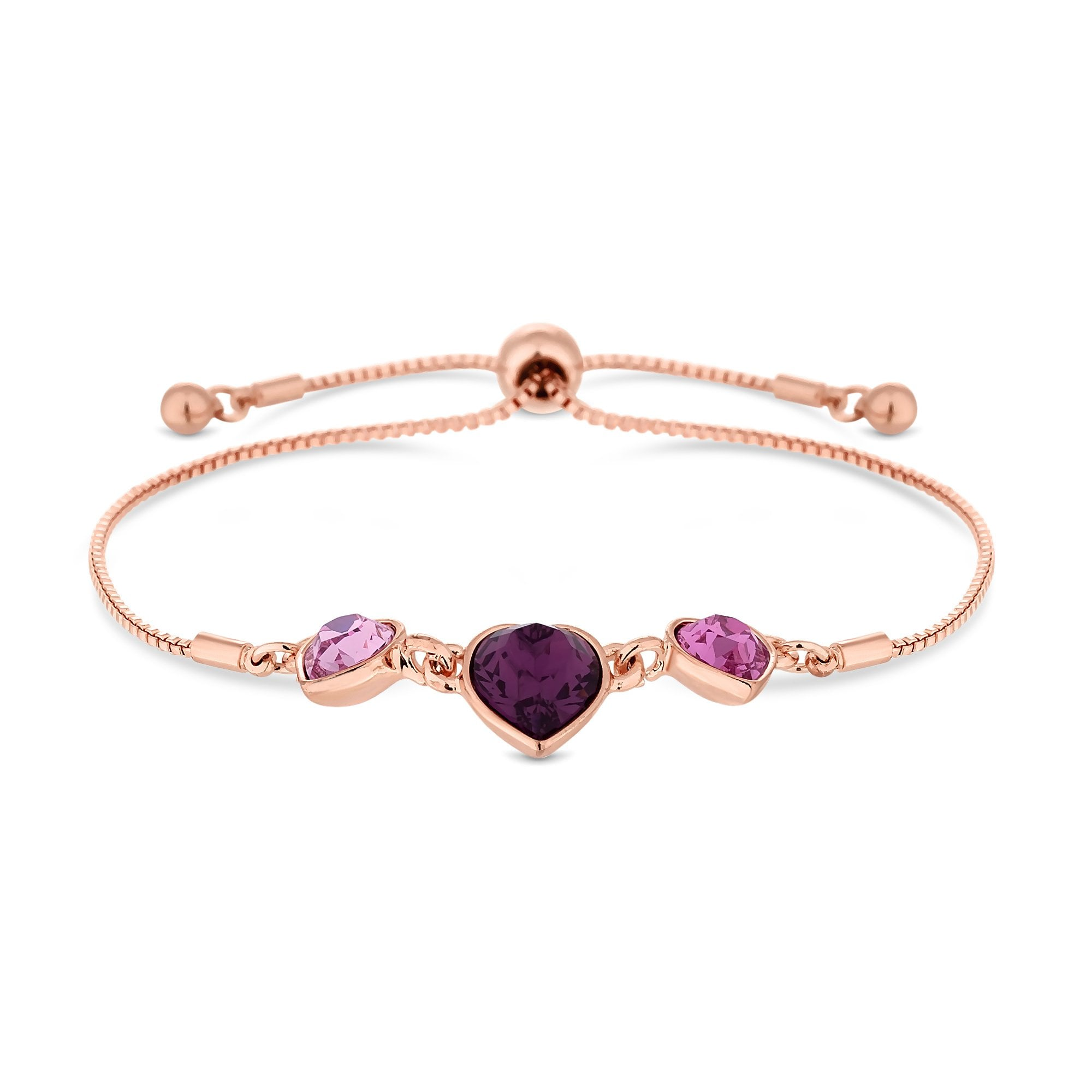 95fd42b9931a Jon Richard made with Swarovski® crystals Rose Gold Plated Pink Heart  Toggle Bracelet Embellished With