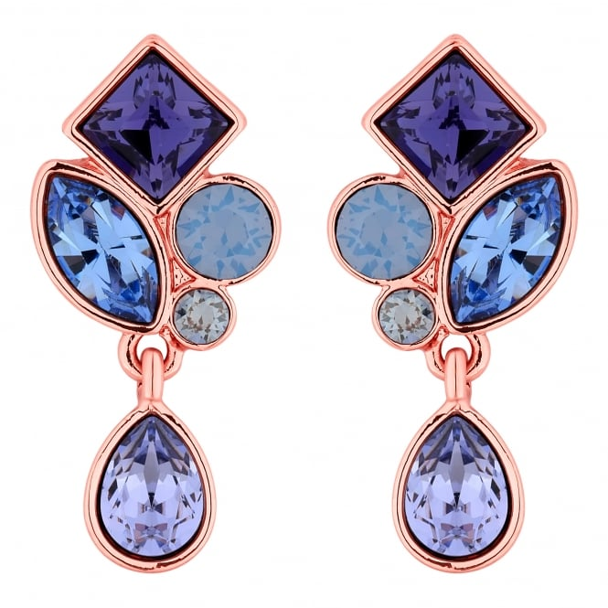 Rose Gold Purple Crystal Cluster Drop Earring Embellished With Swarovski Crystals