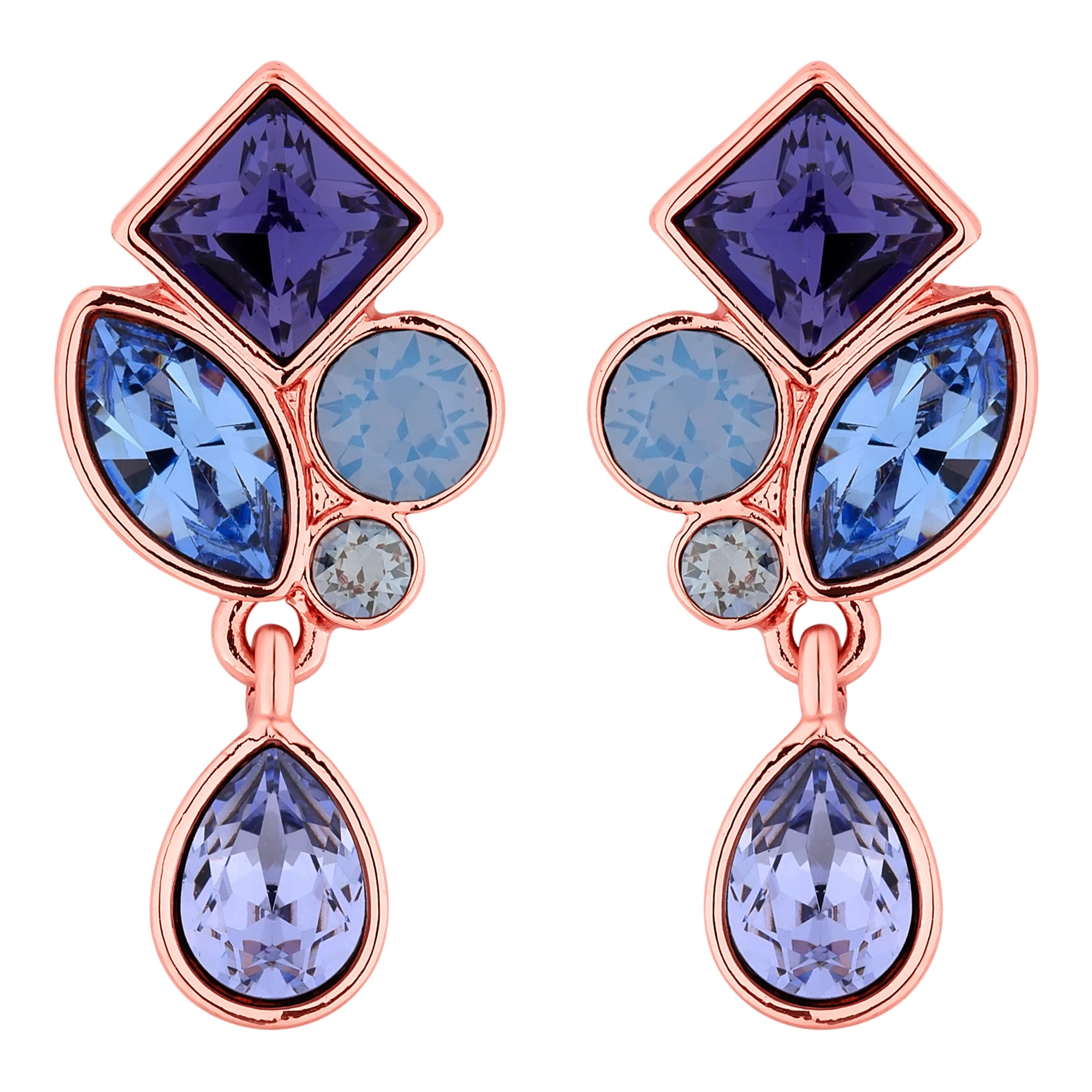 Jon Richard Made With Swarovski Crystals Rose Gold Purple Crystal Cer Drop Earring Embellished