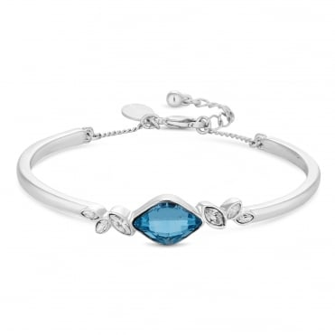 Silver Aqua Blue Bangle Embellished With Swarovski® Crystals