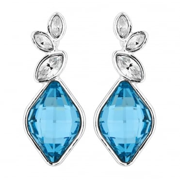 Silver Aqua Blue Drop Earrings Embellished With Swarovski® Crystals
