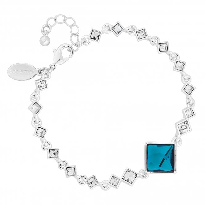 Silver Bermuda Blue Square Bracelet Embellished With Swarovski Crystals
