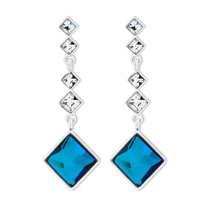 Silver Bermuda Blue Square Drop Earring Embellished With Swarovski Crystals